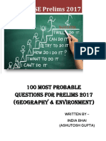 100 Most Probable Questions for Prelims 2017 (Geography & Environment)