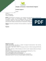 Ementa UFPA - Teoria Desenvolvimento Regional I