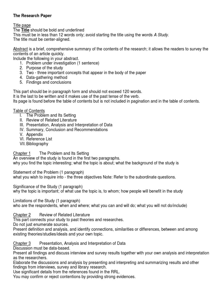 Comprehensive Research Paper Outline | Abstract (Summary) | Survey ...