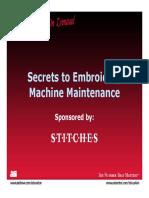 Secrets Embroidery Machine Maintenance