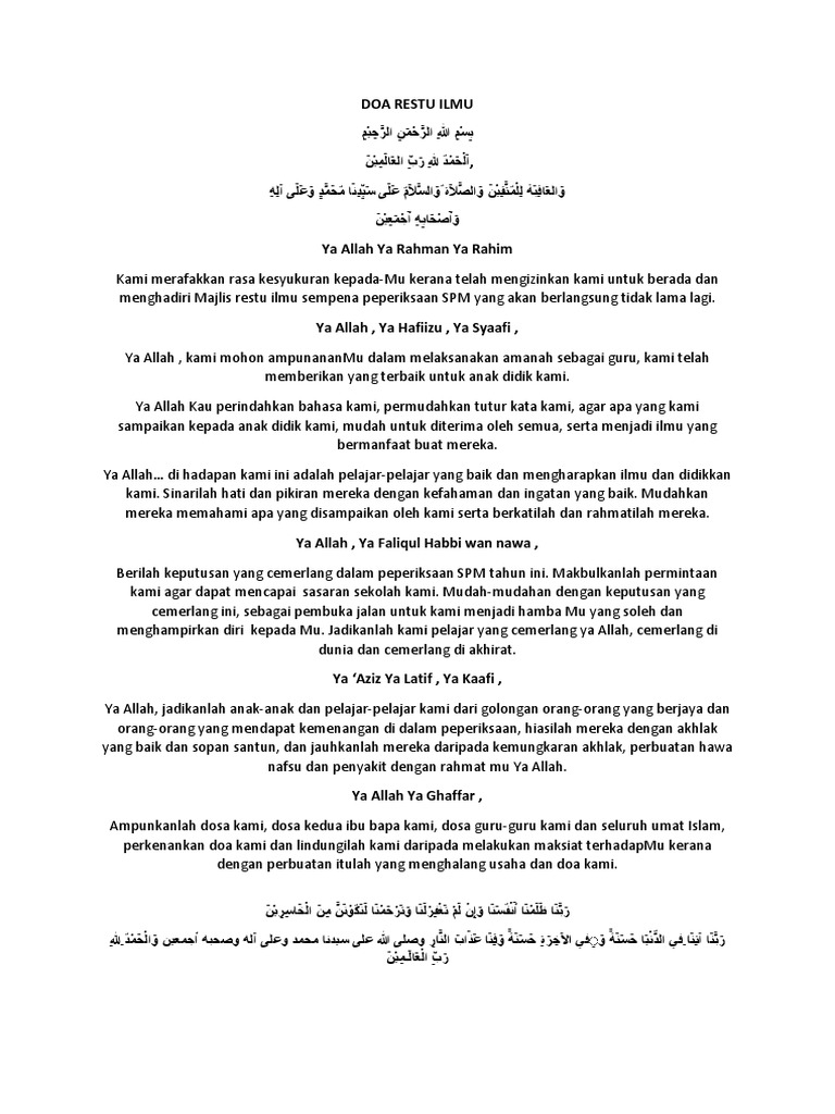 Doa Majlis Restu Ilmu Docx
