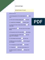 Taller Grado 10 Preposiciones de Lugar