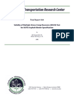 LTRC Final Report 564 Validity of Multiple Stress Creep Recovery (MSCR) Test for DOTD Asphalt Binder Specification