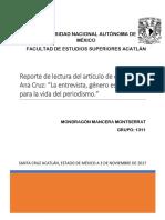 Reporte de Lectura de La Nota de Ana Cruz