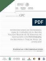 Intervenciones de enfermería en el recién nacido mayor de 35 semanas de gestación con fototerapia en segundo y tercer nivel de atención