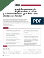 Efectos adversos de la quimioterapia, las terapias dirigidas contra el cáncer y la hormonoterapia qué debe saber el médico de familia