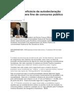 Validade e Eficácia Da Autodeclaração de Negro Para Fins de Concurso Público Federal