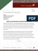 For Immediate Release SGRE Adds John Kuhn