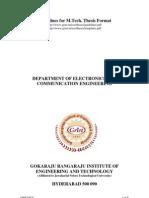 M.Tech Project Guidelines- JNTU Hyderabad
