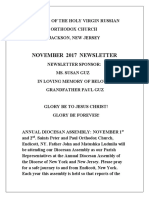 Nativity of the Holy Virgin Church - Newsletter - November, 2017