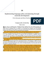 Implementing Language Policy and Planning Through Materials Development