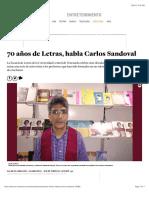 70 años de Letras, habla Carlos Sandoval