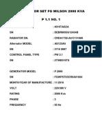 Generator Set Data