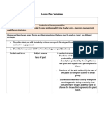 lesson plan template part of plant
