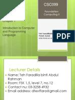Chapter 1 - Intro to Programming Language