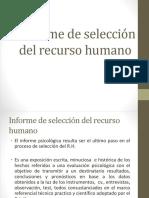 Informe de Selección Del Recurso Humano