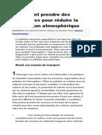 Comment Prendre Des Mesures Pour Réduire La Pollution Atmosphérique