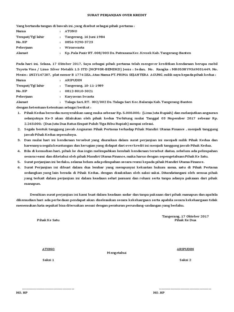 Blog Pendidikan Contoh Surat Over Kredit Mobil