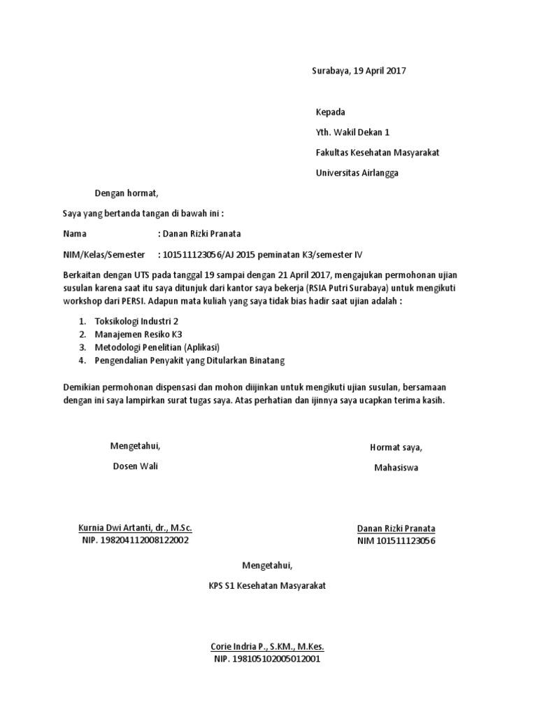 Contoh Surat Permohonan Ujian Susulan Kepada Dosen Kumpulan Surat Penting