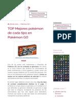 TOP Mejores Pokémon Por Tipo en Pokémon GO - [ACTUALIZADO]