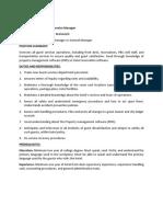 Job Description for Guest Service Manager