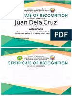 Subject Certificate of Recognition