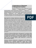 Assignment on Importance of Business Mathematics in Management System