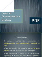 Types of Communicative Strategy