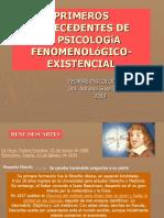 Primeros Antecedentes de La Psicologia Fenomenologico Existencial