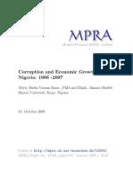 Corruption and Economic Growth in Nigeria 1986 -2007