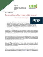 Comunicación, Realidad e Hiperrealidad Sensorial