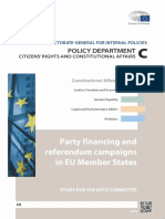 PARTY FINANCING AND REFERENDUM CAMPAIGNS IN EU MEMBER STATES - STUDY