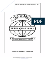 TESOL Quarterly. Vol. 25, No. 2, Summer, 1991-Teachers of English to Speakers of Other Languages, Inc. (TESOL) (1991)