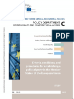 Criteria, conditions, and procedures for establishing a political party in the Member States of the European Union - study