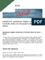 Fatwâ Sur Quelques Règles Relatives à l'Entrée Dans La Mosquée _AWQAF — EAU_ _ ÉCOLE MALIKITE