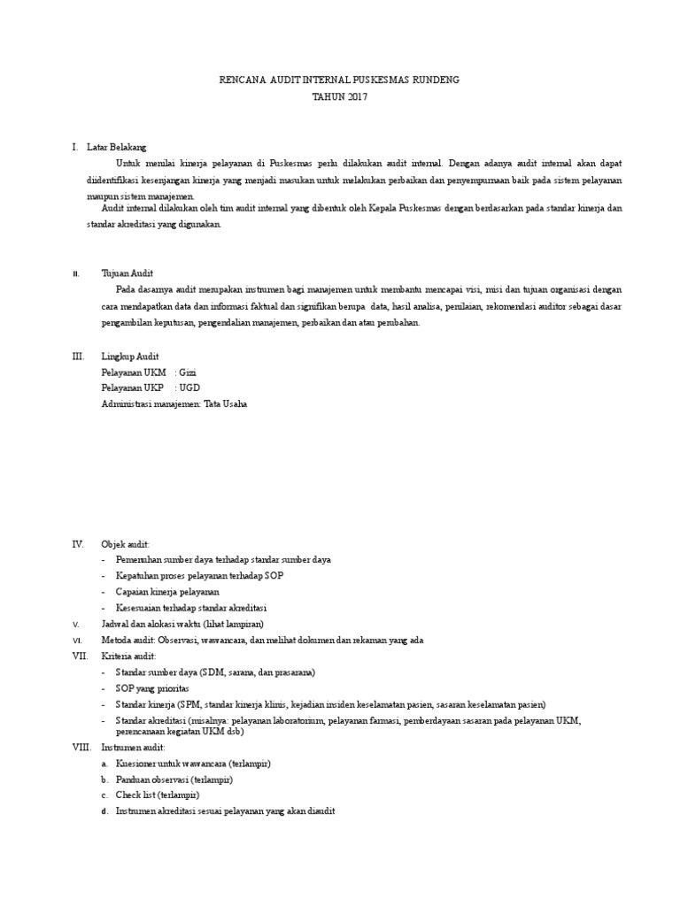 Contoh Laporan Audit Internal Puskesmas Pdf Kumpulan Contoh Laporan