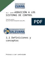 1.1 Definiciones y Conceptos - 1.2 Sistemas Lazo Abierto y Cerrado