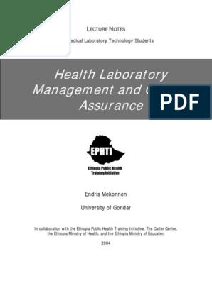 lab management notes pdf | Laboratories | Quality Assurance