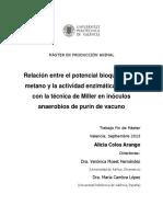 Relación Entre El Potencial Bioquímico de Metano y La Actividad Enzimática Medida Con La Técnica