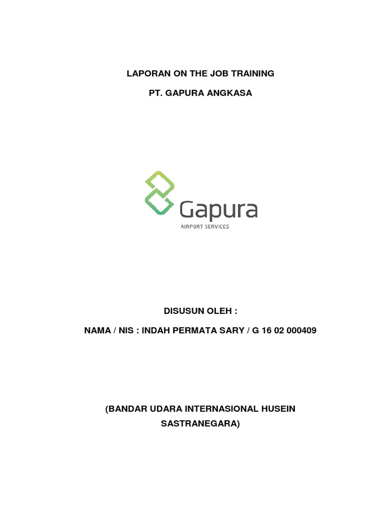 Laporan On The Job Training Indah Docx