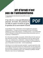 Le Boycott d'Israël n'Est Pas de l'Antisémitisme, Par Eric Hazan (Libération)
