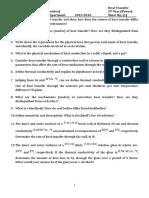 1 Sheet Fundamentals of Heat Transfer
