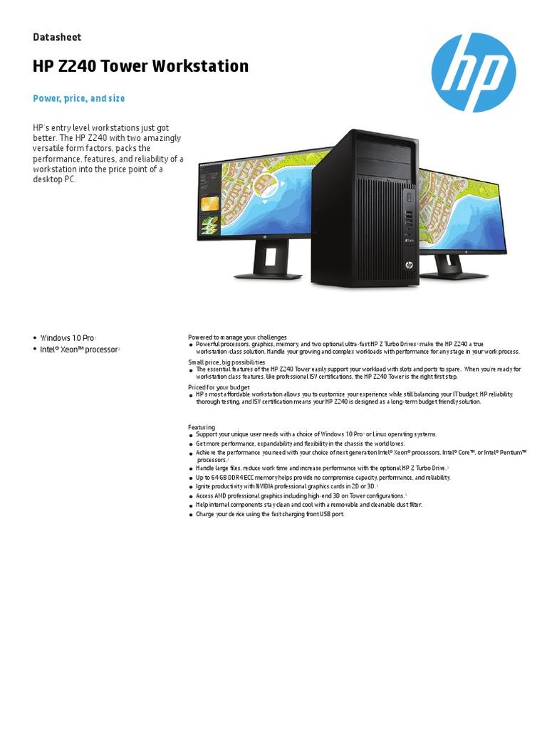 HP Z240 Workstation technical specs   Stasiun Kerja   Solid