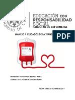 Manejo y Cuidados de La Transfusion