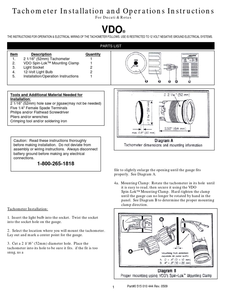 0 515 010 444 Tachometer Installation And Operations Instructions Vdo Wiring Diagram 1 Min Ducatirotax Electrical Connector Ignition System