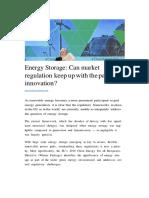 Energy Storage Regulation vs Innovation