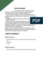 Oferta Meniu Nunta 'Complex Popas Pacurari'