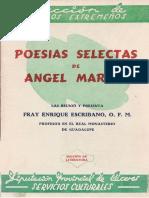 Poesías selectas de Angel Marina por Fray Enrique Escribano O.F.M. profesor en el Real Monasterio de Guadalupe (1951)