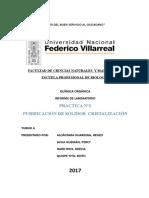 Informe de Lab. n2 Purificacion de Sólidos Cristalización Ver.2