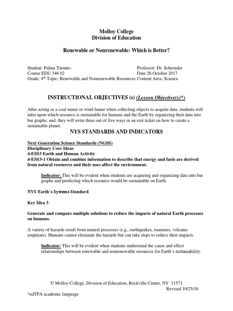 worksheet Renewable And Nonrenewable Resources Worksheets edu 346 renewable and nonrenewable lesson plan sustainability resources
